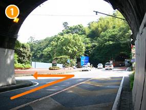国道135号線をトンネルを出てすぐ左折